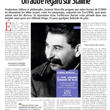 Article dans Liberté Hebdo  sur le livre d'Aymeric Monville «Et pour quelques bobards de plus. Contre-enquête sur Staline et l'Union soviétique»